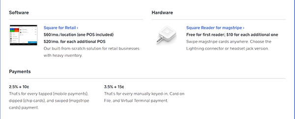 Square credit card processing fees