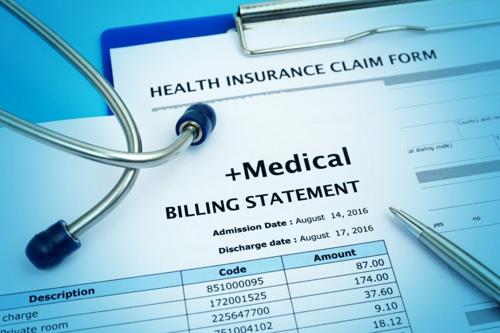 Healthcare payment system: A closeup of a medical billing statement