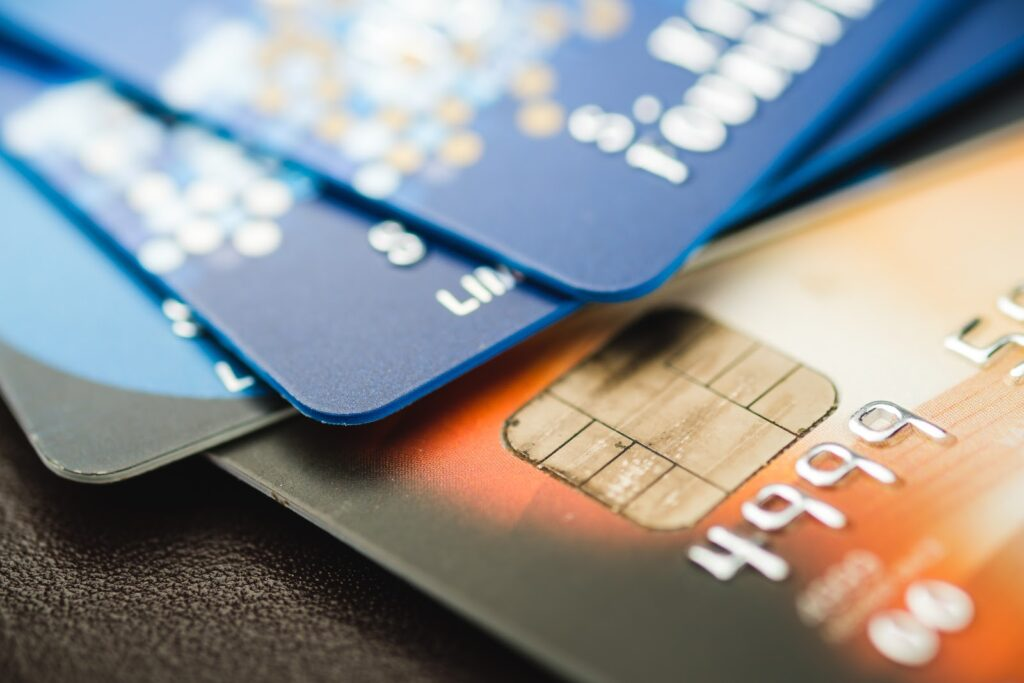debit card processing: Close up shot of a stack of credit cards